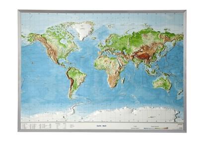 Wereld reliëf kaart ALU kader