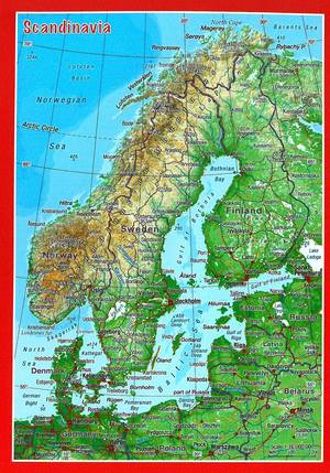 Scandinavia reliëfpostkaart