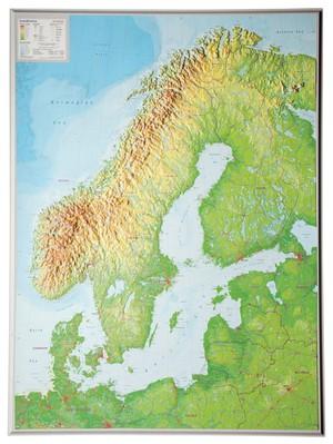 Scandinavië reliëf kaart
