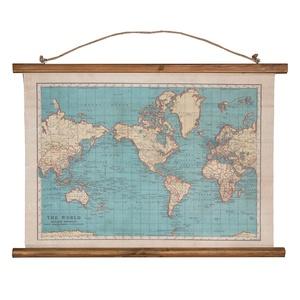 Wereldkaart canvas vintage world map