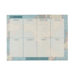 Weekplanner vintage world map