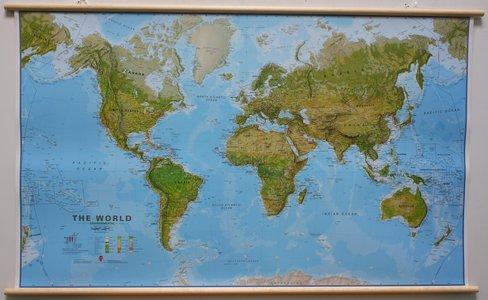 Wandkaart wereld ecologisch Engelstalig 195 × 120 cm op houten stokken