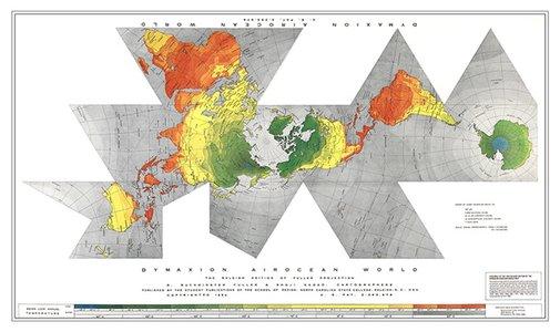 Bucky Fuller Dymaxion World Map Raleigh