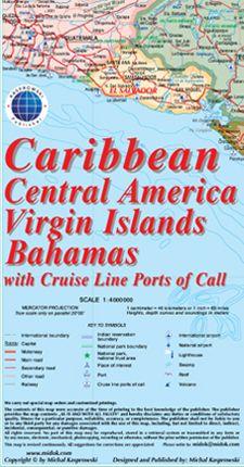 Cruise Kaart Caribbean 1/4m Central Amer