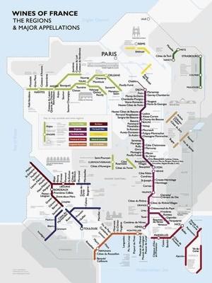 Wine Map France Metro Plano De Long