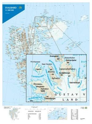 Svalbard 1m Plano Wandkaart Spitsbergen