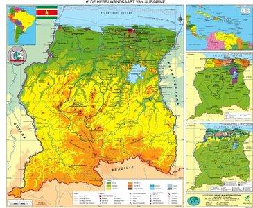 Suriname Wandkaart Hebri Plano Rode Latjes