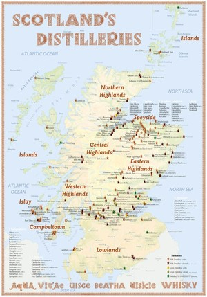 Scotland Whisky Map Op Canvas