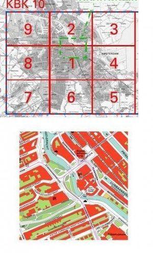 Amsterdam wandkaart Set met 9 bladen geplastificeerd