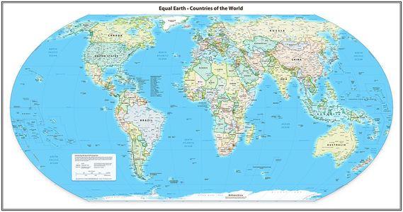 Equal Earth staatkundige wandkaart van de wereld