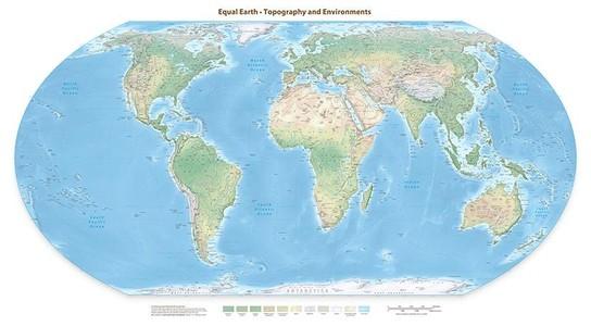 Equal Earth natuurkundige wandkaart