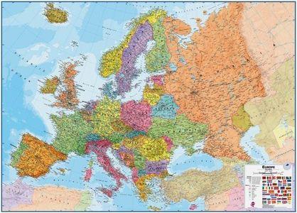 Europa magneetbord staatkundig 140 cm x 100 cm