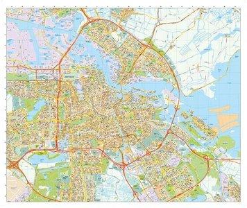 Amsterdam stadsplattegrond wandkaart gelamineerd