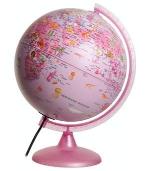 Kinderglobe Pinkzoo Met Diertjes 25cm Nederlands