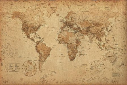 World Map Vintage 61 X 91,5cm Hole Wall
