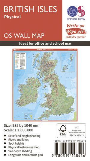 British Isles Physical wandkaart