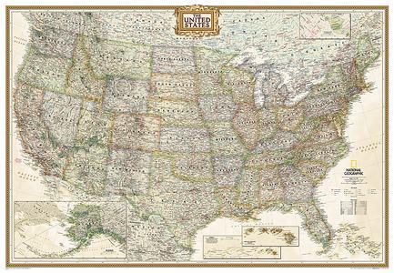 USA pol. antiek groot plano geplastificeerd