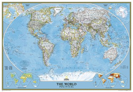 National Geographic Classic Blue Political World Map Large