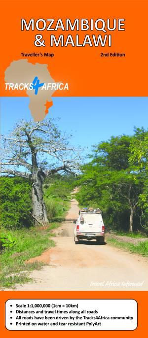 Mozambique & Malawi wegenkaart voor 4x4 GPS tourist road map Tracks4Africa