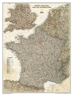 Frankrijk / België / Nederland antiek plano geplastificeerd