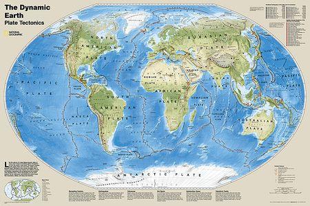 Dynamische aarde -  Platen tektoniek plano