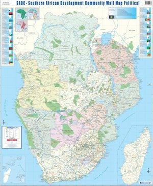Afrika Zuidelijk politiek wandkaart SADC 2-delig