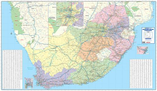 Zuid-Afrika business map 4-delig plano