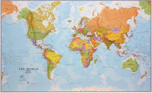 Gelamineerde wandkaart wereld staatkundig Engelstalig 195 × 120 cm