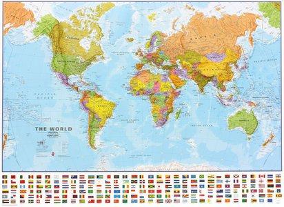 Gelamineerde wandkaart wereld staatkundig Engelstalig 136 × 100 cm