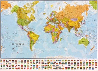 Gelamineerde wandkaart wereld staatkundig Nederlandstalig 136 × 100 cm