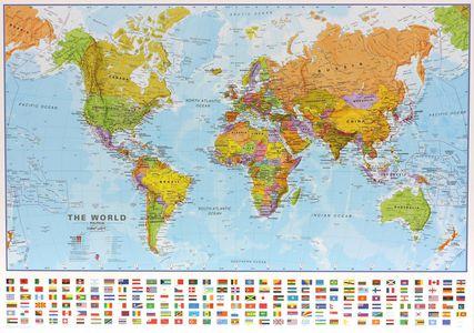 Gelamineerde wandkaart wereld staatkundig Engelstalig 103 × 73 cm