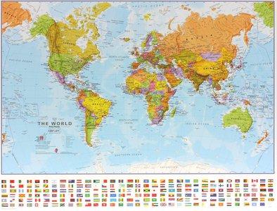 Gelamineerde wandkaart wereld staatkundig Engelstalig 68 × 53 cm