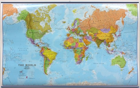 Wandkaart met ophangstrips wereld staatkundig Engelstalig 136 × 83 cm