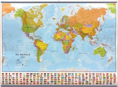 Wandkaart met ophangstrips wereld staatkundig Nederlandstalig 136 × 100 cm