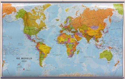 Wandkaart met ophangstrips wereld staatkundig Nederlandstalig 136 × 83 cm
