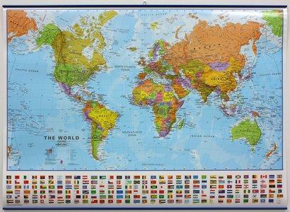 Wandkaart met ophangstrips wereld staatkundig Engelstalig 103 × 73 cm