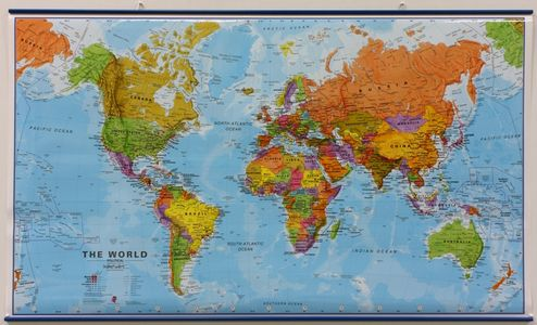 Wandkaart met ophangstrips wereld staatkundig Engelstalig 103 × 60 cm
