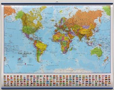 Wandkaart met ophangstrips wereld staatkundig Engelstalig 68 × 53 cm