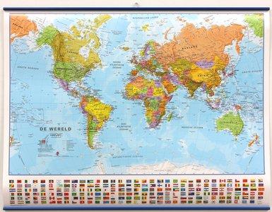 Wandkaart met ophangstrips wereld staatkundig Nederlandstalig 68 × 53 cm