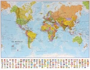 Wandkaart wereld staatkundig Nederlandstalig 68 × 53 cm