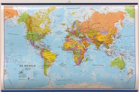 Wandkaart met ophangstrips wereld staatkundig Nederlandstalig 68 × 44 cm