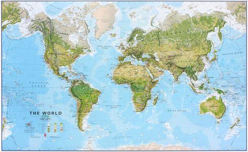 Gelamineerde wandkaart wereld ecologisch Engelstalig 136 × 83 cm