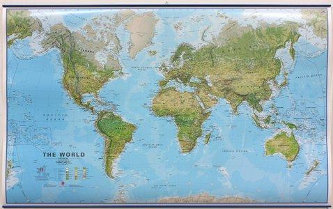 Wandkaart met ophangstrips wereld ecologisch Engelstalig 136 × 83 cm