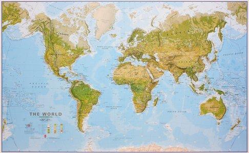 Gelamineerde wandkaart wereld ecologisch Engelstalig 195 × 120 cm