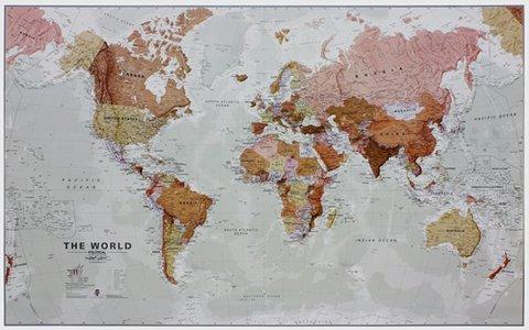 Gelamineerde wandkaart wereld Executive Engelstalig 136 × 83 cm