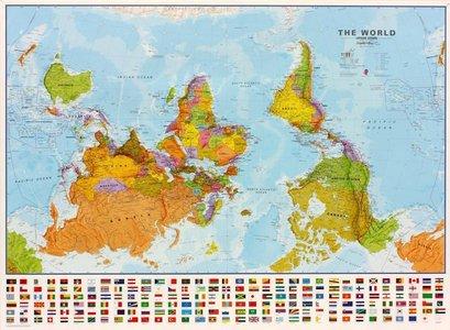 Gelamineerde wandkaart wereld (Upside Down) staatkundig Engelstalig 136 × 100 cm
