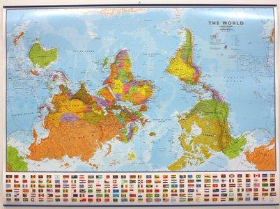 Wandkaart met ophangstrips wereld (Upside Down) staatkundig Engelstalig 136 × 100 cm
