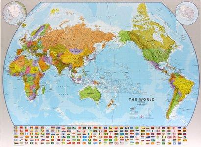 Gelamineerde wandkaart wereld (Pacific Centered) staatkundig Engelstalig 123 × 90 cm