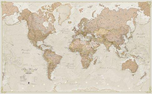 Wandkaart wereld antieke stijl Engelstalig 136 × 83 cm