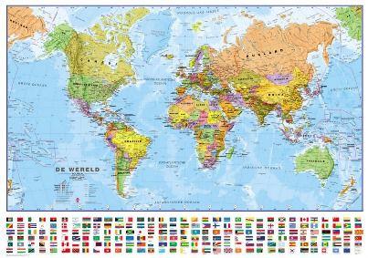 Wandkaart wereld staatkundig Nederlandstalig 103 × 73 cm